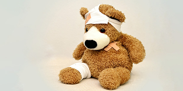 Teddy bear who received first aid
